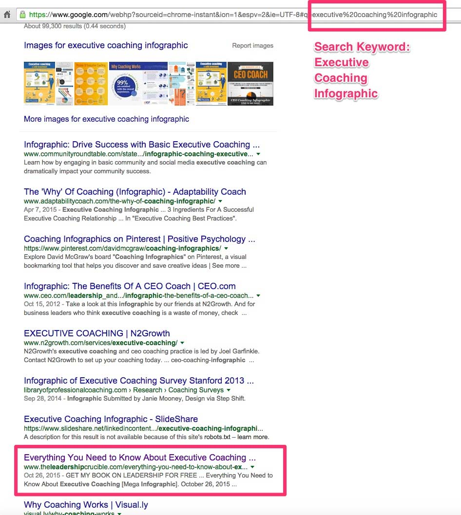 1st Page of Google Result for Executive Coaching Infographic